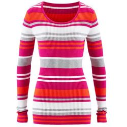 Sweter z okrągłym dekoltem bonprix fuksja w paski