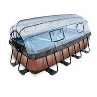 Baseny stelażowe i rozporowe, Basen Exit Wood brązowy prostokątny 400 x 200 cm składany dach drabinka pompa filtrująca