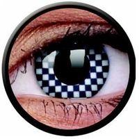 Soczewki kontaktowe, Soczewki kolorowe białe CHEQUERED Crazy Lens 2 szt.