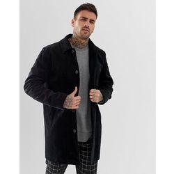 ASOS DESIGN single breasted trench coat in cord in black - Black