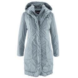 Krótki płaszcz ocieplany z kapturem bonprix srebrnoszary