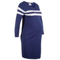 Sukienka dzianinowa ciążowa bonprix kobaltowo-biały w paski