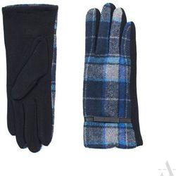 Kobaltowo-czarne rękawiczki damskie w klasyczną kratę - czarny ||niebieski ||kobaltowy