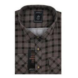 Koszula Męska Speed.A sztruksowa brązowa w kratkę na długi rękaw duże rozmiary D947