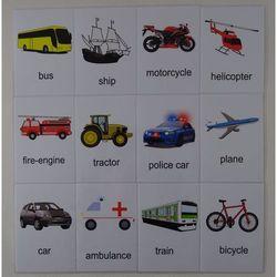 Pojazdy karty edukacyjne w j. angielskim