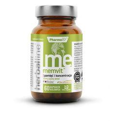 Memvit pamięć i koncentracja z dodatkiem BioPerine i bezwodną kofeiną 60 kapsułek Vcaps PharmoVit Herballine