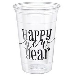 Kubeczki plastikowe Happy New Year - 480 ml - 8 szt.