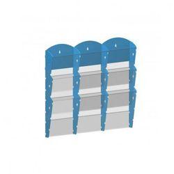 Plastikowy uchwyt ścienny na ulotki - 3x3 A5, niebieski