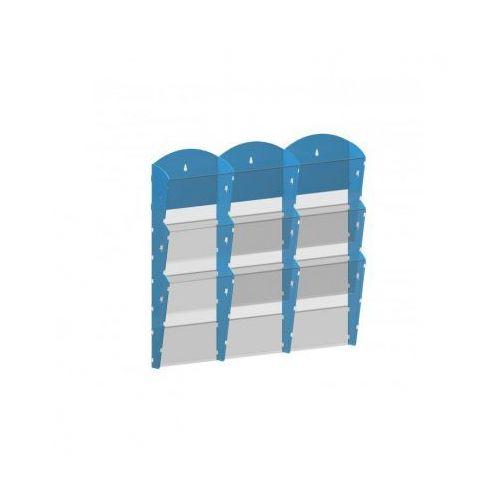 Ramy,stojaki i znaki informacyjne, Plastikowy uchwyt ścienny na ulotki - 3x3 A5, niebieski