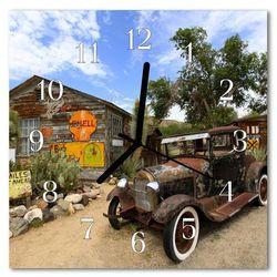 Zegar szklany kwadratowy Stary samochód