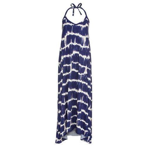 Suknie i sukienki, Sukienka z ramiączkami wiązanymi na szyi bonprix kobaltowo-kremowy z nadrukiem