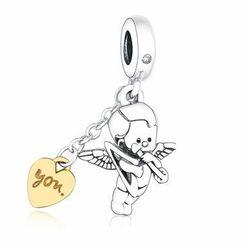 Rodowany srebrny wiszący charms pandora anioł miłości kupidyn srebro 925 BEADNEW8