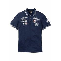 Shirt polo z efektownym zdobieniem bonprix ciemnoniebieski