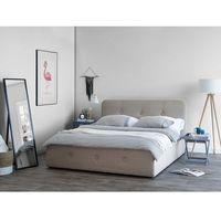 Łóżka, Łóżko beżowe tapicerowane podnoszony pojemnik 140 x 200 cm RENNES