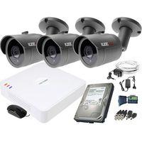 Zestawy monitoringowe, ZM11836 Zestaw do monitoringu 3 kamery IR 30m Rejestrator Hikvision FullHD Dysk 1TB