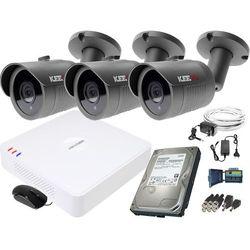 ZM11836 Zestaw do monitoringu 3 kamery IR 30m Rejestrator Hikvision FullHD Dysk 1TB