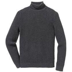 Sweter z golfem Regular Fit bonprix ciemnoszary melanż