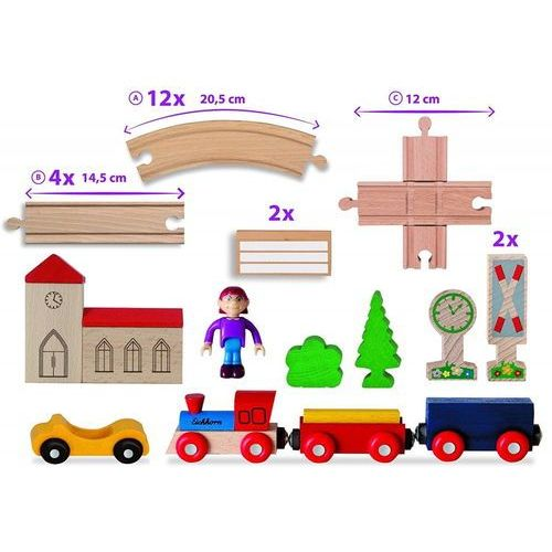 Kolejki i tory dla dzieci, Kolejka drewniana, 35 elementów