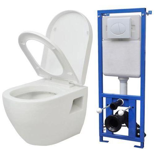 podwieszana toaleta, ze zbiornikiem, ceramika, biała marki Vidaxl
