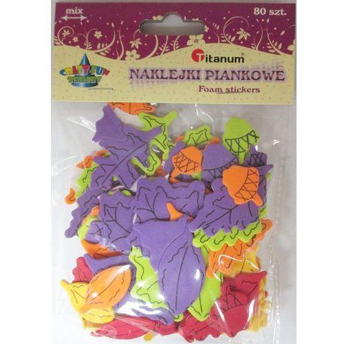 Naklejki, Zestaw dekoracyjny - naklejki piankowe liście. 80 sztuk. 338594. - Titanum