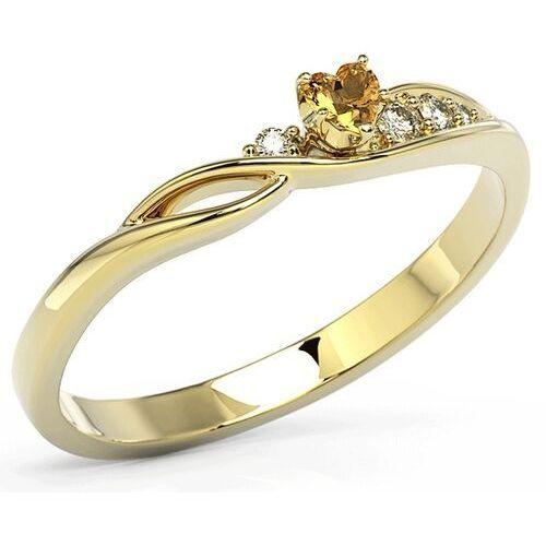 Pierścionki i obrączki, Pierścionek z żółtego złota z topazem Swarovski Honey i cyrkoniami BP-81Z-TOP-HON/C - Żółte \ Topaz Honey