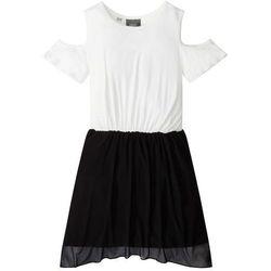 Sukienka z wycięciami na ramionach bonprix czarno-biel wełny