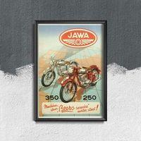Plakaty, Plakaty w stylu retro Plakaty w stylu retro Jawa Vintage Motorcycle Poster