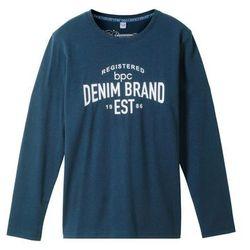 Shirt z długim rękawem i nadrukiem bonprix ciemnoniebieski z nadrukiem