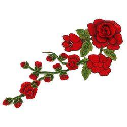 Naszywka gałązka i kwiat czerwony 30cm x max 13cm - czerwony