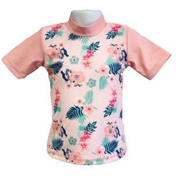 Koszulka kąpielowa bluzka dzieci 108cm filtrem UV50+ - Rashy Pink \ 108cm