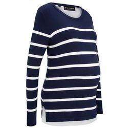 Sweter ciążowy i do karmienia bonprix ciemnoniebiesko-biały w paski