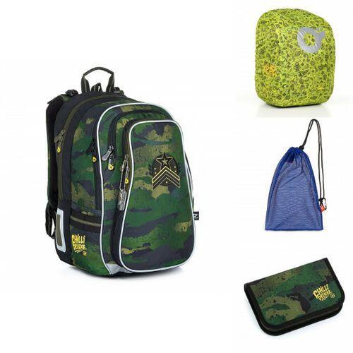 Tornistry i plecaki szkolne, Pojemny plecak szkolny w militarne moro Topgal LYNN 21018 B