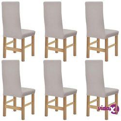 vidaXL Elastyczne pokrowce na krzesła, prążkowane, 6 szt., beż Darmowa wysyłka i zwroty