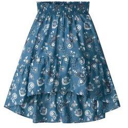 Spódnica z falbaną bonprix niebieski dżins w kwiaty