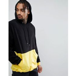 ASOS Oversized Longline Hoodie In Fleece With Woven Panel And Toggle Hem - Black