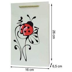 Torebka ozdobna prezentowa ręcznie malowana 26x16 - biedronka
