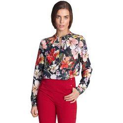 Bluzka z pęknięciem na dekolcie - kwiaty/granat - B100