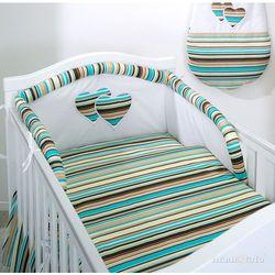 MAMO-TATO Ochraniacz do łóżeczka 60x120 Serduszka w paseczkach brązowych