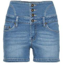 Szorty dżinsowe z wysoką talią bonprix niebieski bleached