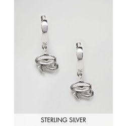 ASOS DESIGN Sterling Silver Hoop Earrings With Eye Of Horus - Silver