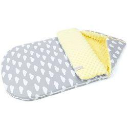 """Śpiworek do wózka gondoli fotelika 0-12 miesięcy """"S"""" Chmurki białe na szarym / żółty"""
