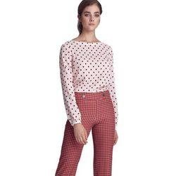 Bluzka z bufiastymi rękawami - krem/grochy - B106
