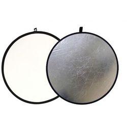 Blenda fotograficzna okrągła 2w1 biało-srebrna 110cm