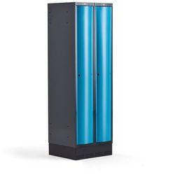 Metalowa szafa ubraniowa CURVE, na cokole, 2x1 drzwi, 1890x600x550 mm, niebieski