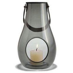 Lampion, skórzany uchwyt M, szare szkło - Holmegaard