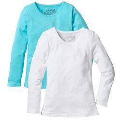 Koszulka z długim rękawem (2 szt.) bonprix morski + biały