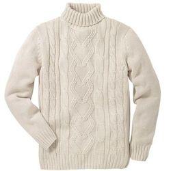 Sweter z golfem bonprix kremowy