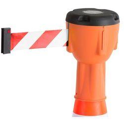 Głowica z taśmą na pachołek drogowy, 10 000 mm, pomarańczowy, biało-czerwona taśma
