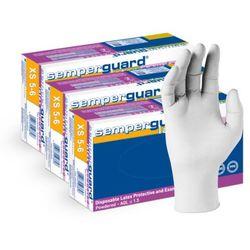 3 x Lateksowe rękawice ochronne Semperguard, pudrowane, białe 300 szt łącznie - roz. XS