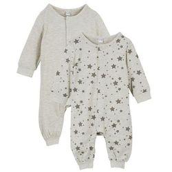 Pajacyk niemowlęcy (2 szt.), bawełna organiczna bonprix naturalny melanż + szary